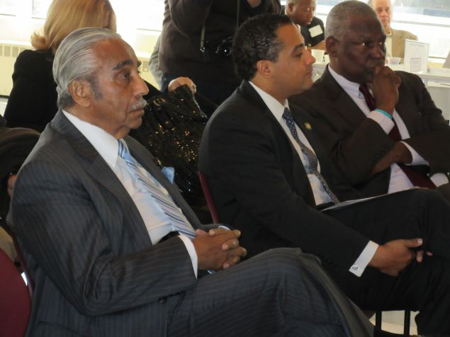 Keith Wright, right, with fellow Harlem lawmakers Assemblyman Raymond Rodriguez and Congressman Charles Rangel.
