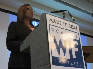 """Letitia James speaks at the Working Families Party """"Justice for Workers"""" event (Photo: Will Bredderman)."""