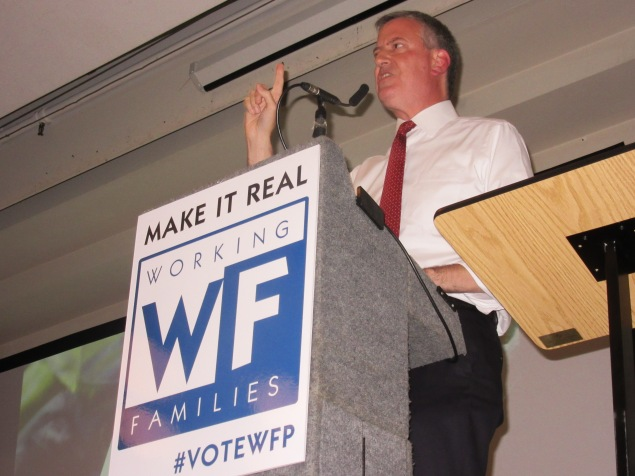 Bill de Blasio speaks at the Working Families Party rally (Photo: Will Bredderman).