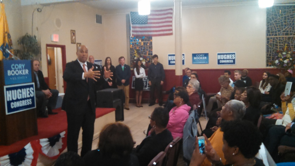Booker rouses a roomful of South Jersey Democrats in Atlantic City Monday night.
