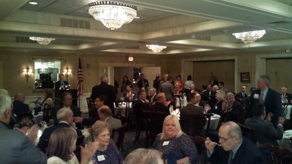 Union County Republicans, lead by chairman Glenn Mortimer, pack the Echo Lake Country Club in Westfield Wednesday night.