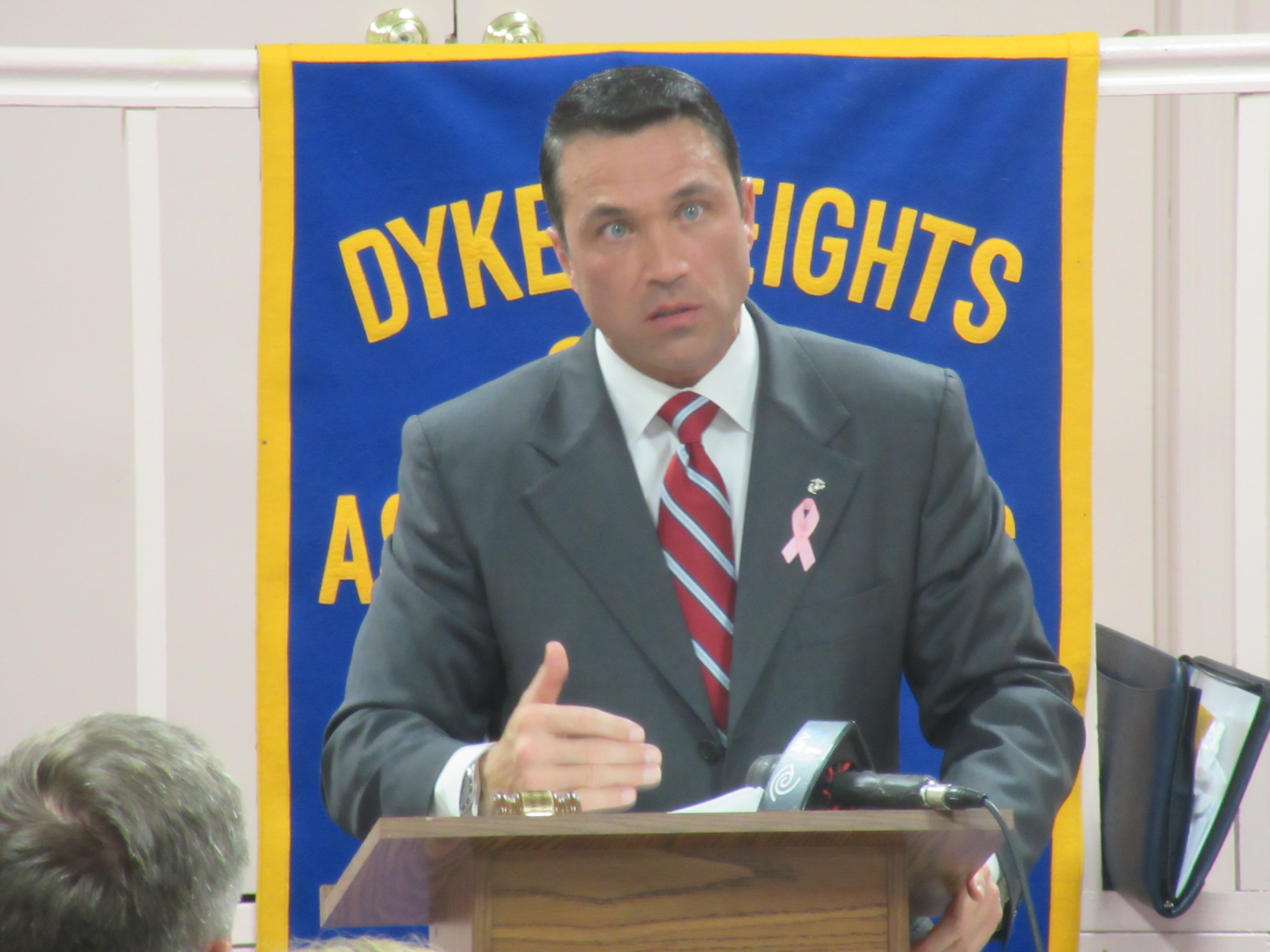 Michael Grimm at a recent candidates forum (Photo: Will Bredderman).