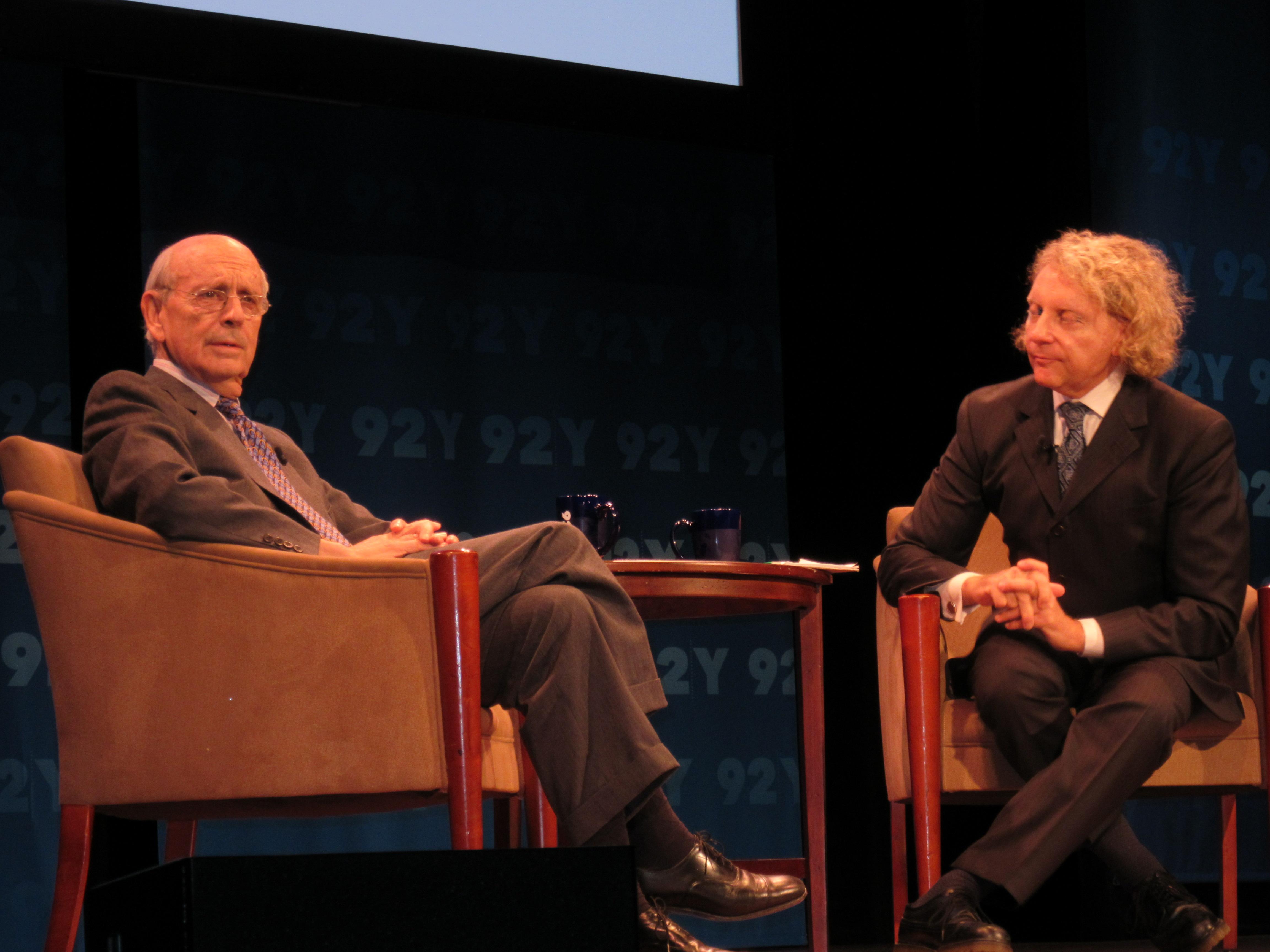 Supreme Court Justice Stephen Breyer with Professor Thane Rosenbaum (Photo: Will Bredderman).