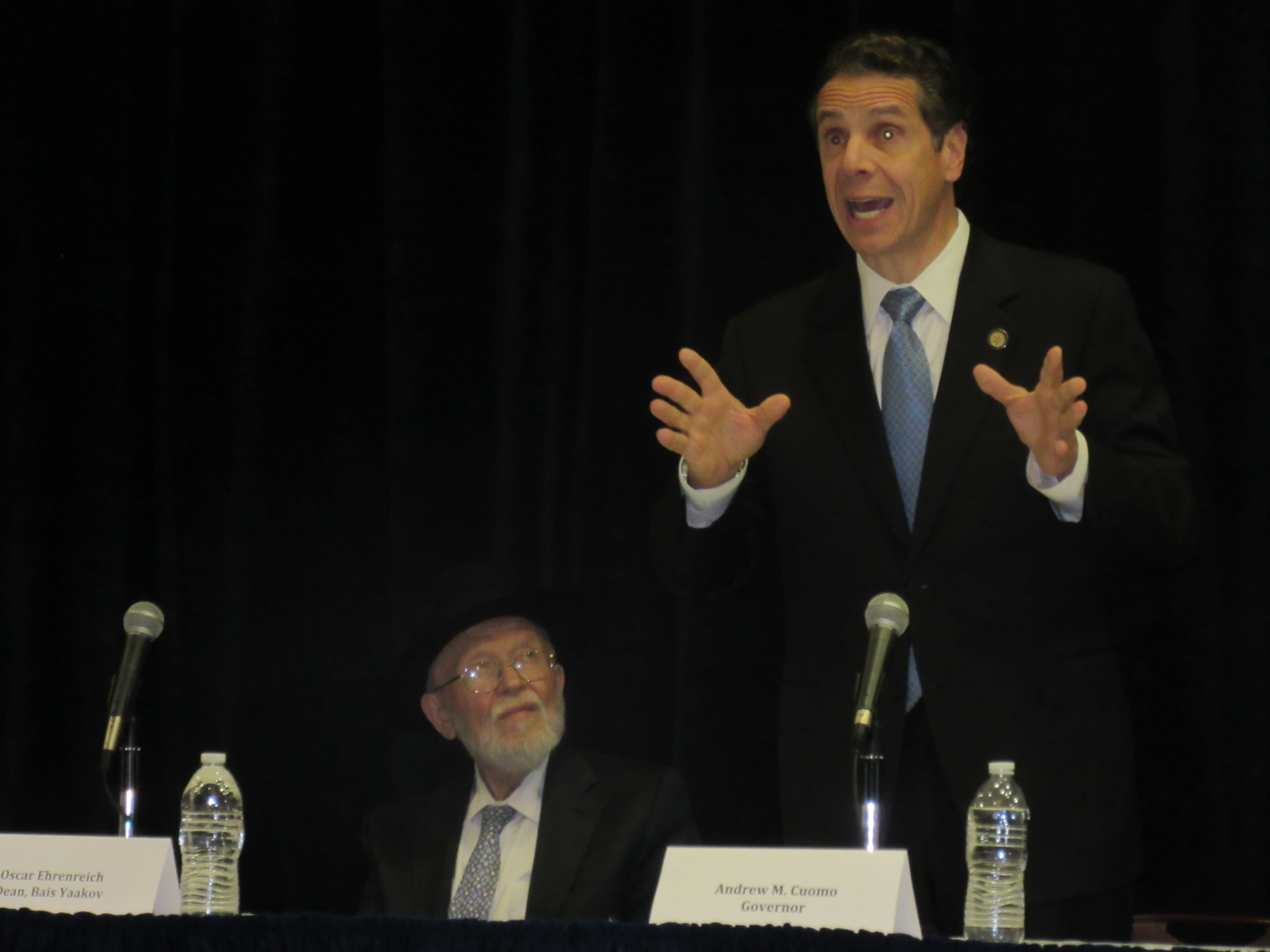 Gov. Andrew Cuomo addresses religious Jewish leaders (Photo: Will Bredderman).