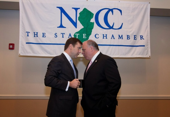 Kean, left, and Senate President Steve Sweeney last year in Monroe, photo courtesy of the New Jersey Chamber of Commerce.