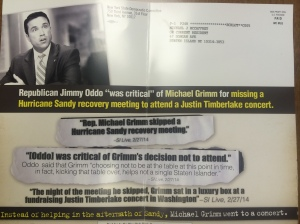 A negative mailer featuring Mr. Oddo's comments about Mr. Grimm.