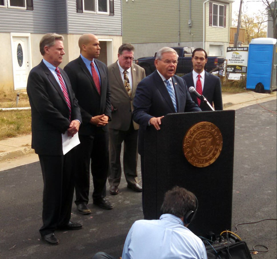 Menedez, Booker, Pallone and HUD Secretary Julian Castro hold a press conference on the two year anniversary of Hurricane Sandy in Union Beach, New Jersey.