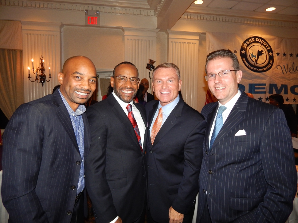 From left: Booker State Director Mo Butler, Essex County Democratic Chairman Leroy Jones, Essex County Clerk Chris Durkin, and Essex County Freeholder Brendan Gill.