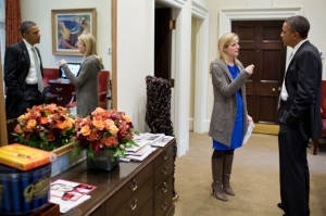 "President Barack Obama talks to ""outstanding lawyer with impeccable judgment"" Kathryn Ruemmler in the Outer Oval Office, Jan 15, 2013. (Official White House Photo by Pete Souza)"