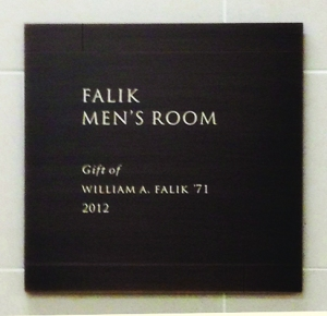One of Harvard Law graduate William Falik's three eponymous men's rooms.