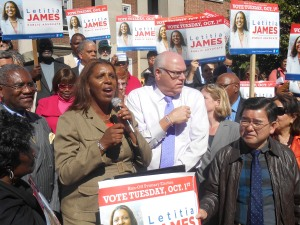Ms. James receiving the endorsement of the Queens Democratic Party last year. (Photo: Ross Barkan)