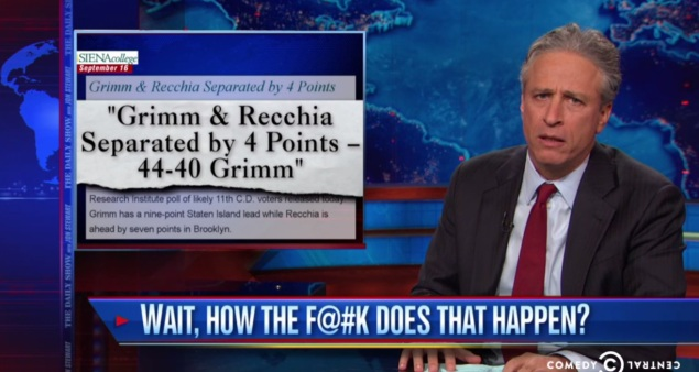 The Daily Show's Jon Stewart skewered Domenic Recchia last night. (Screengrab: Comedy Central)