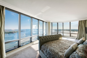 The master bedroom has views similar to the living room.