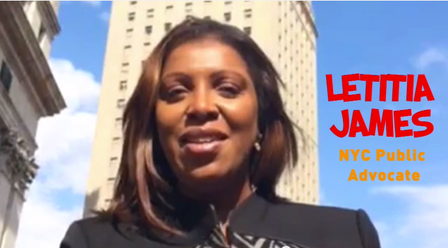 Public Advocate Letitia James vowing to vote  the Working Families Party line. (Screengrab)