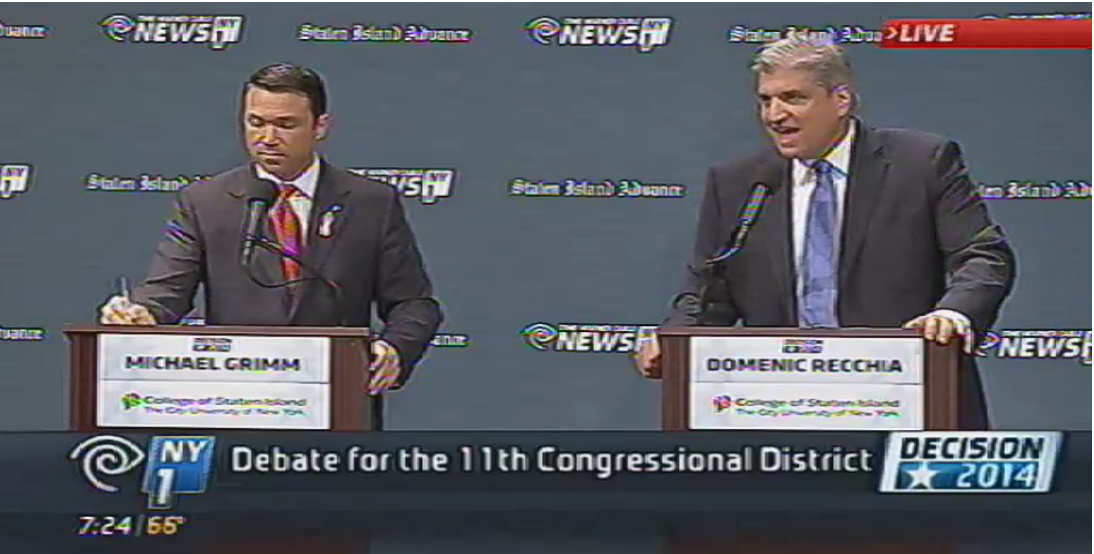 Congressman Michael Grimm and challenger Domenic Recchia faced off in another televised debate. (Screengrab: SILive.com)