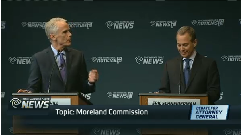 John Cahill and Eric Schneiderman debate. (Screengrab: NY1)
