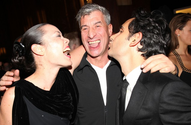 Maurizio Cattelan (center) with Cecilia Dean and James Kaliardos at the opening for Visionaire 64 ART John Baldessari.