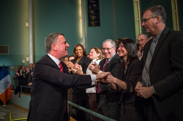 Mr. de Blasio and Mr. Stringer at the State of the City, where the mayor announced plans for the executive order.