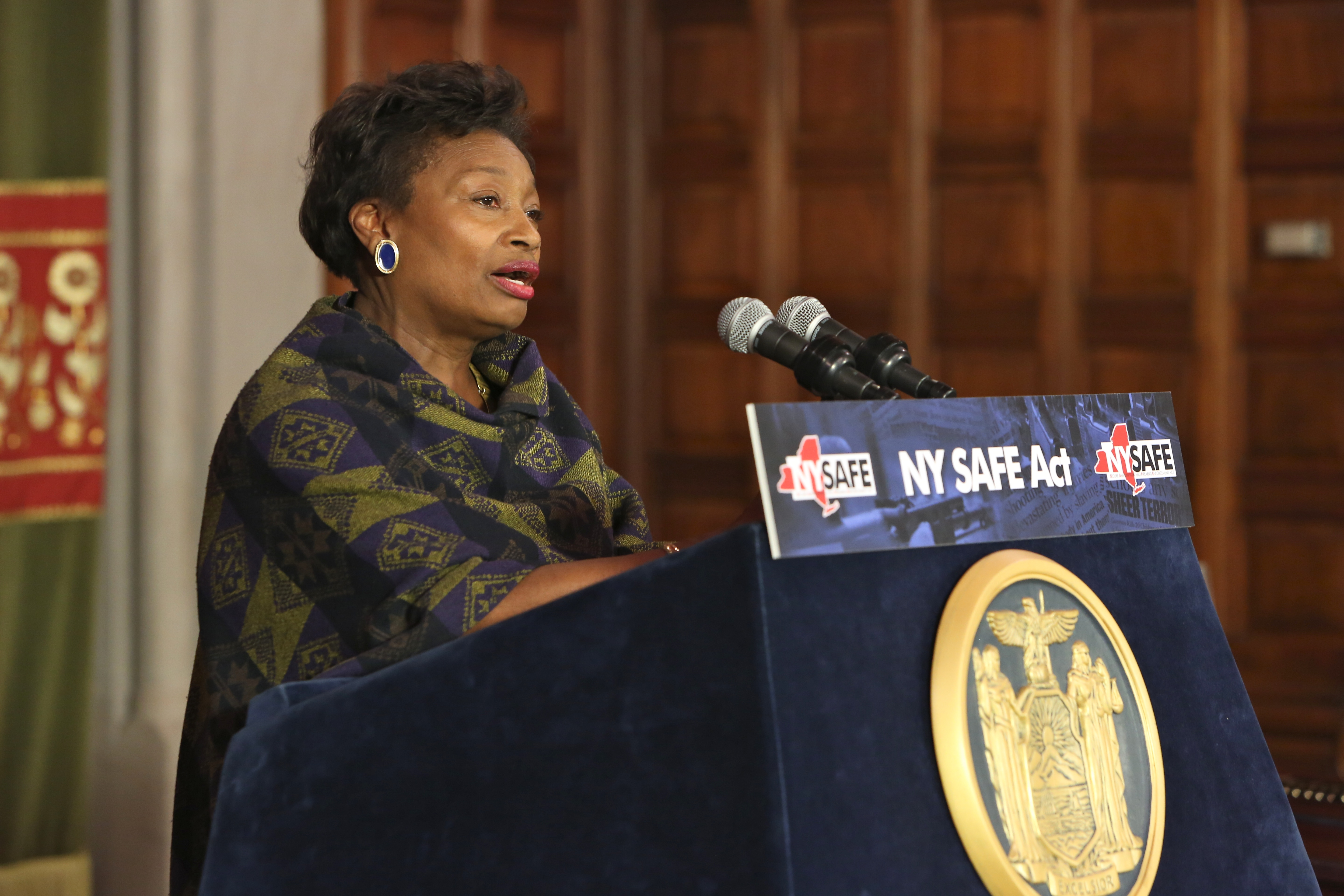 Andrea Stewart-Cousins at an event hosted by Gov. Andrew Cuomo (Photo: Judy Sanders/Governor's Office)