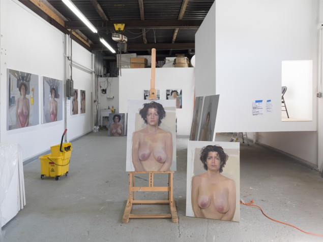 Paintings by Brad Jones displayed at Jennifer Rubell's Greenpoint studio. (Courtesy Sargent's Daughters)