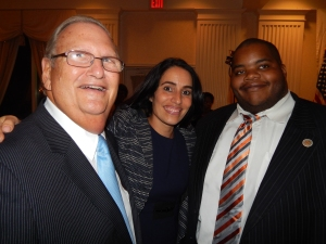 Assemblyman Ralph Caputo (D-28), state Sen. M. Teresa Ruiz (D-29), and Democratic State Party (and East Orange Councilman) Chris James.