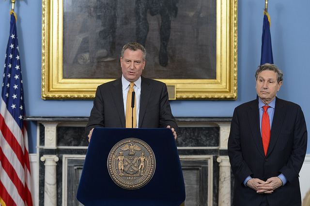 Mayor Bill de Blasio with Carl Weisbrod, the director of the Department of City Planning.