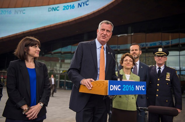 Mayor Bill de Blasio at a press conference to welcome DNC delegates to Brooklyn last year. (Photo: NYC Mayor's Office)