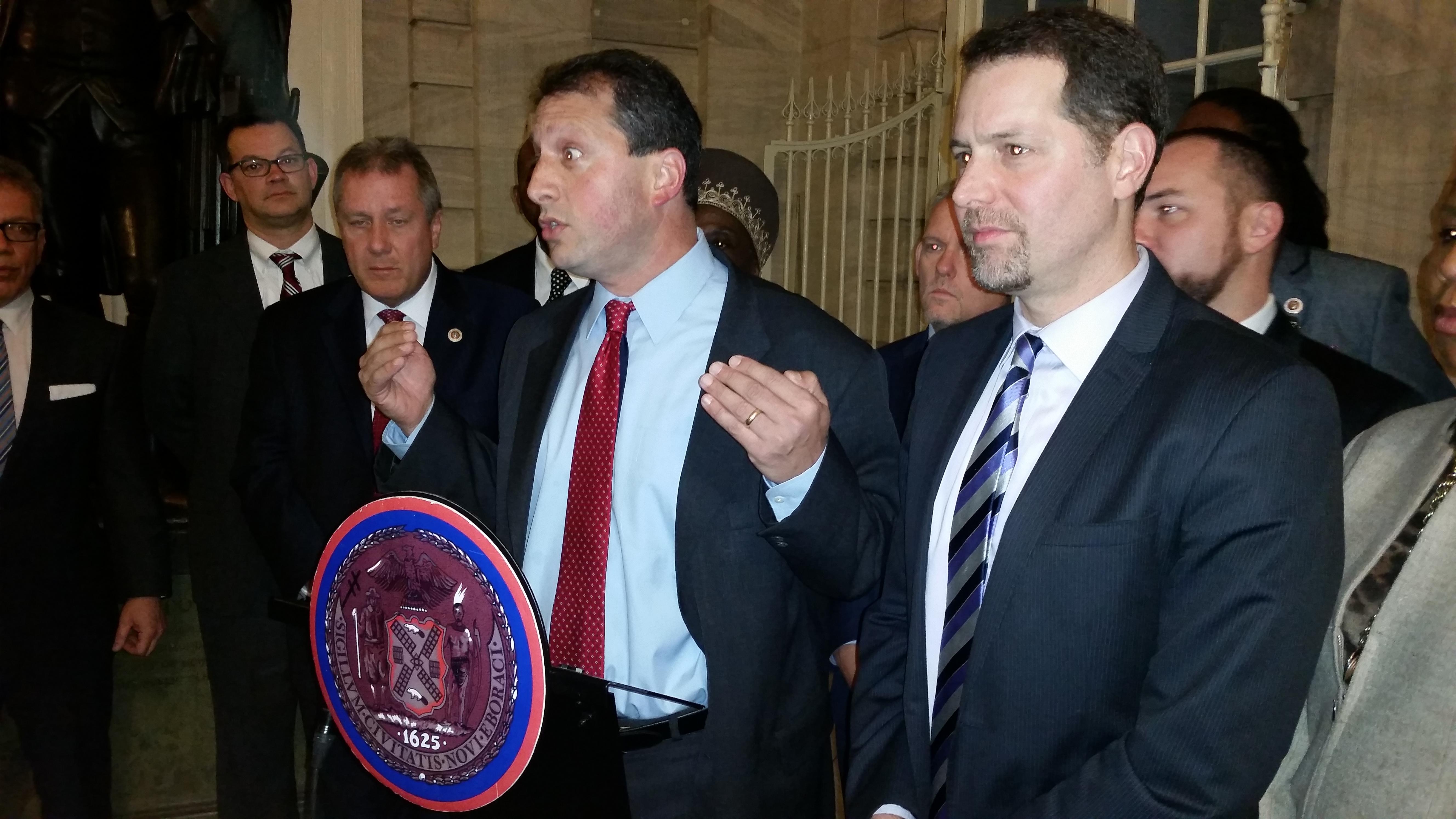 Councilmen Brad Lander and Mark Levine defend Councilwoman Debi Rose. (Photo: Ross Barkan)