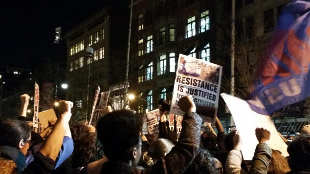 A protest of the grand jury decision Darren Wilson began in Union Square last night, and continued through the city streets (Nicole Puglise/New York Observer).