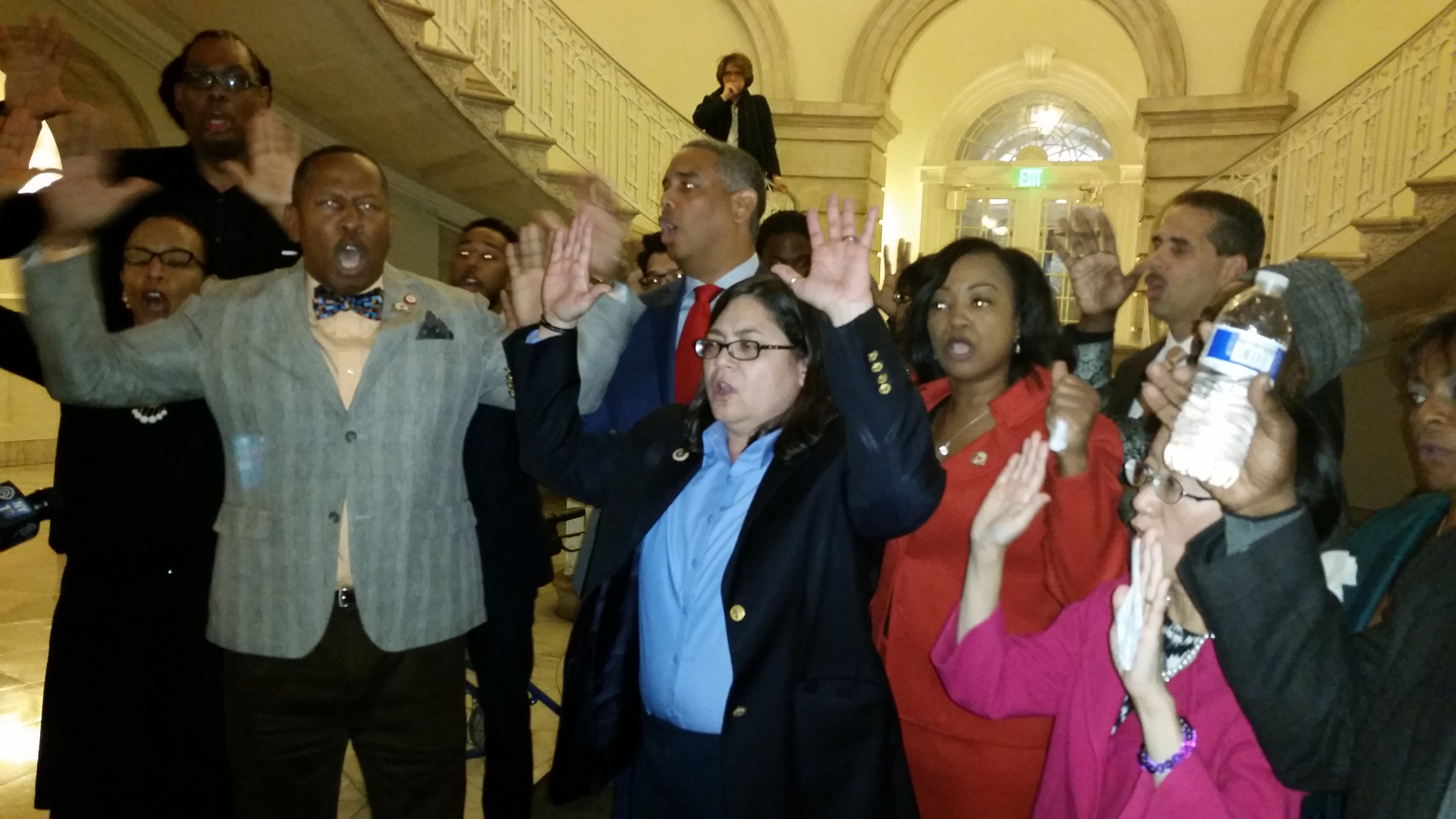The City Council members protesting the Ferguson decision today. (Photo: Ross Barkan)
