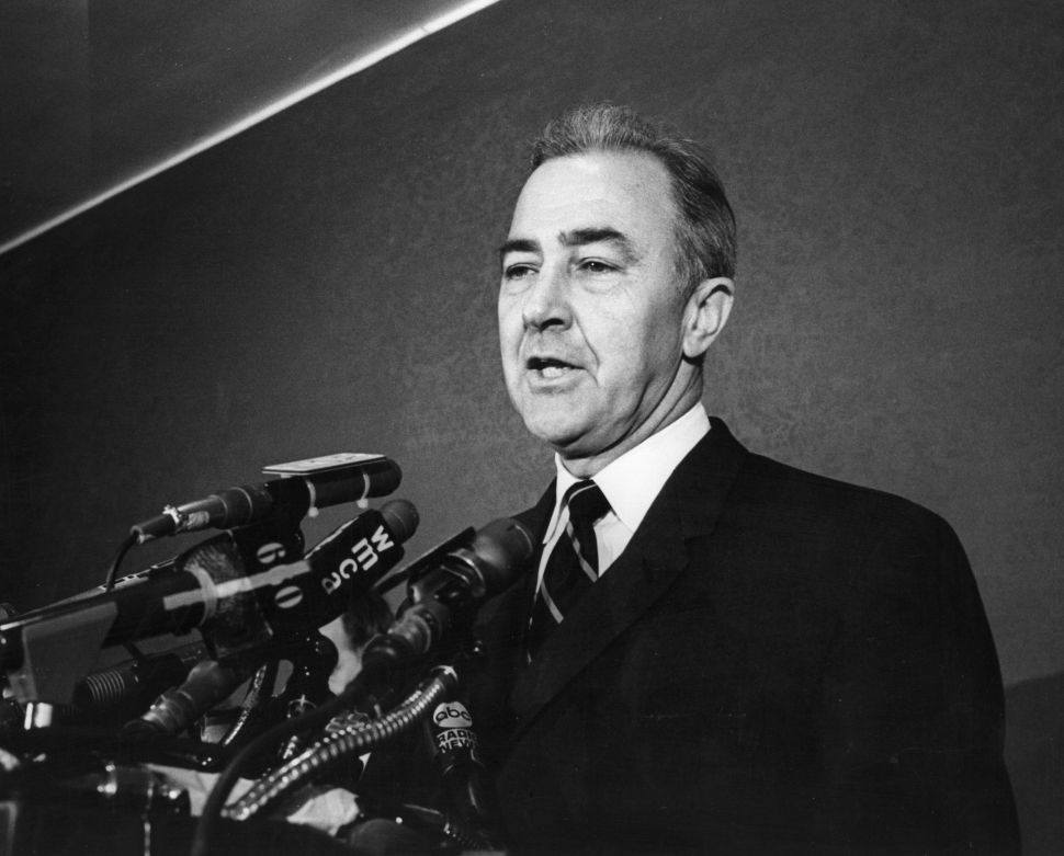 Eugene McCarthy, a candidate for the presidential nomination of the Democratic Party, speaking at his New York headquarters on Jan. 1, 1968. (Photo by Lisl Steiner/Getty Images)