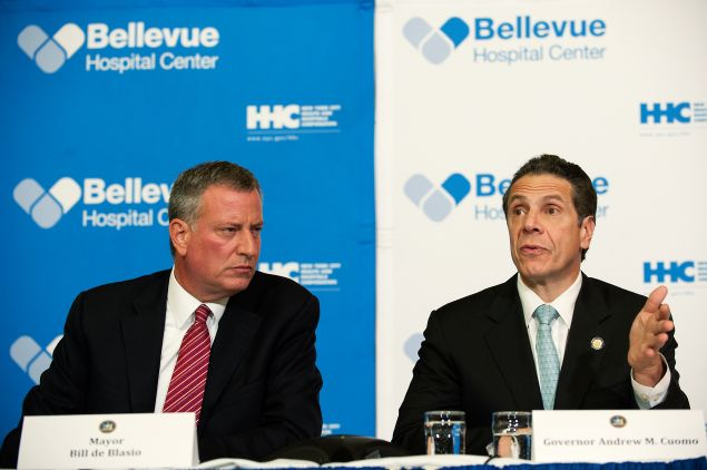 Mayor Bill de Blasio with Gov. Andrew Cuomo. (Photo: Bryan Thomas for Getty Images)