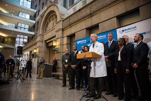 Dr. Nate Link of Bellevue Hospital briefs the media in October about the ongoing situation with Dr. Craig Spencer. (Photo Getty Images)