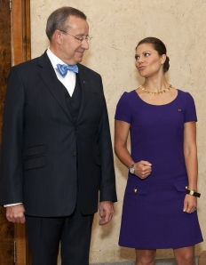 With his much younger wife having been spotted canoodling with a much younger suitor, President Ilves could surely be forgiven for noticing other ladies, such as Sweden's Crown Princess Victoria, who visited Estonia on October 28, 2014. (RAIGO PAJULA/AFP/Getty Images)