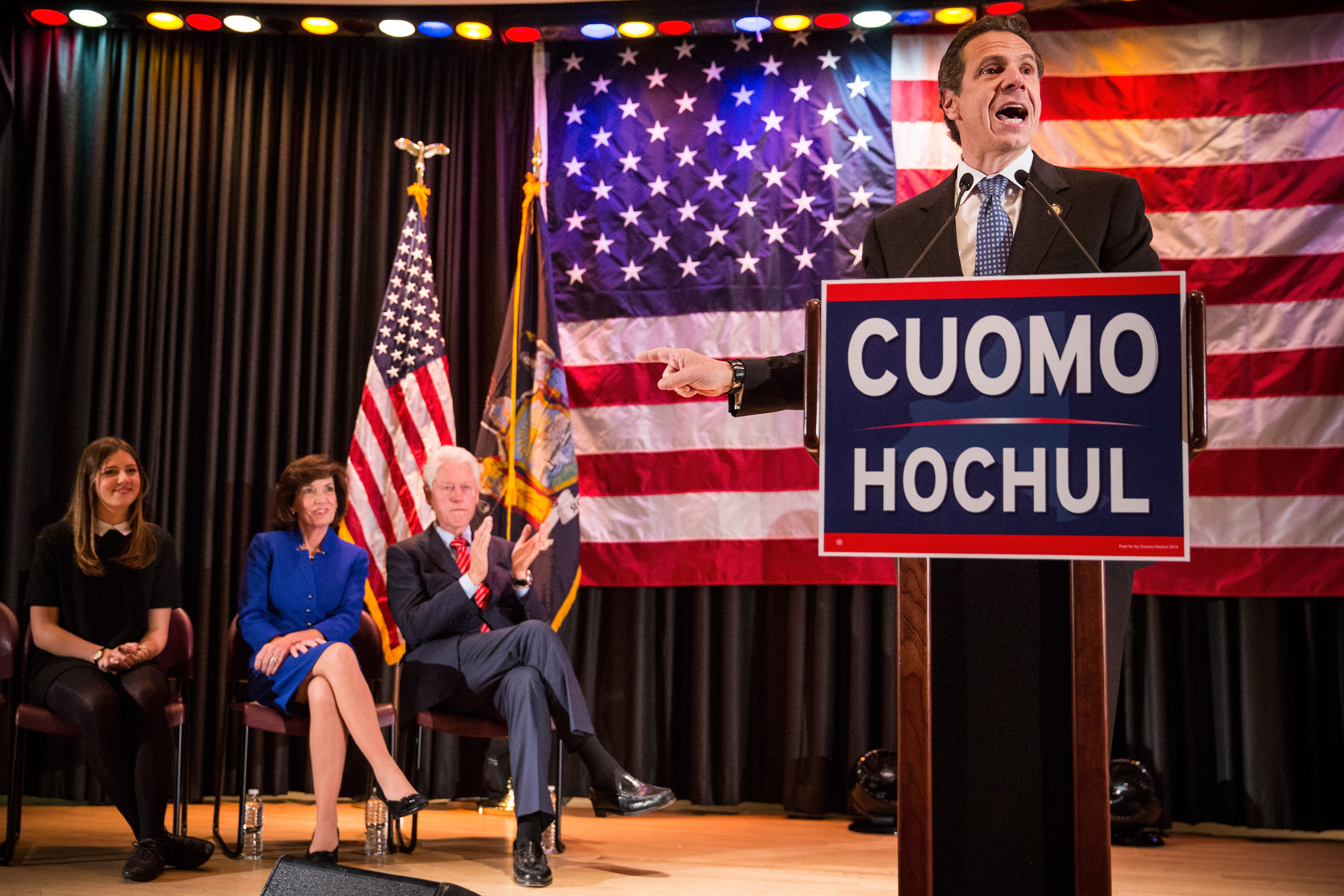 Gov. Andrew Cuomo at a campaign rally with former President Bill Clinton. (Photo:  Andrew Burton/Getty Images)
