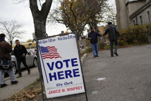 Voting today in Detroit, Michigan. (Photo by Joshua Lott/Getty Images)