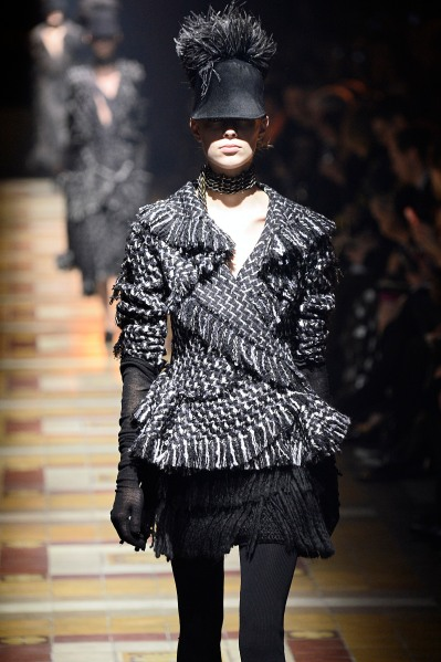 A model wears the hat during Lanvin's autumn and winter 2014 presentation in Paris. (Photo by Catwalking/Getty Images)