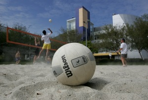 Google employees play volleyball at the Google headquarters. (Photo: Getty)