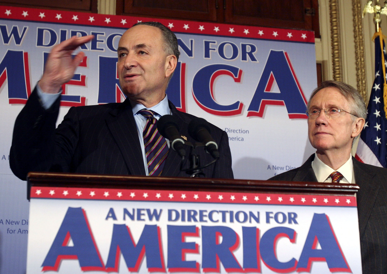 Senators Charles Schumer and Harry Reid in 2006, when the Democrats captured the majority in the Senate. (Photo: Lauren Victoria Burke/Getty Images
