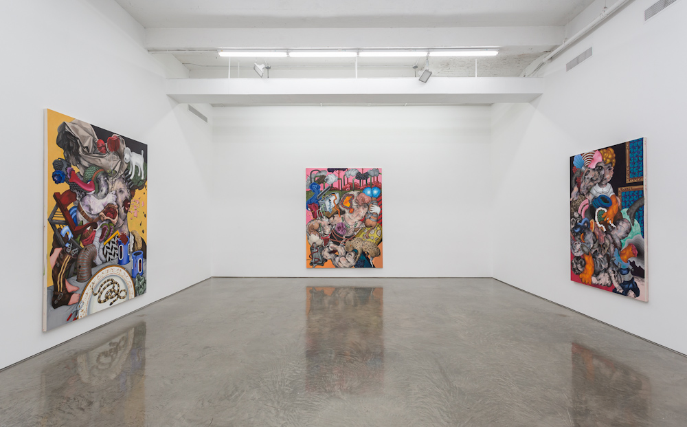 Installation view of Ahmed Alsoudani's first exhibition at Gladstone Gallery's West 24th Street location. (Courtesy Gladstone Gallery)