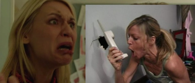 Seperated at birth? Claire Danes as Carrie Mathison on Homeland and Kaitlin Olson as Sweet Dee on It's Always Sunny in Philadelphia.
