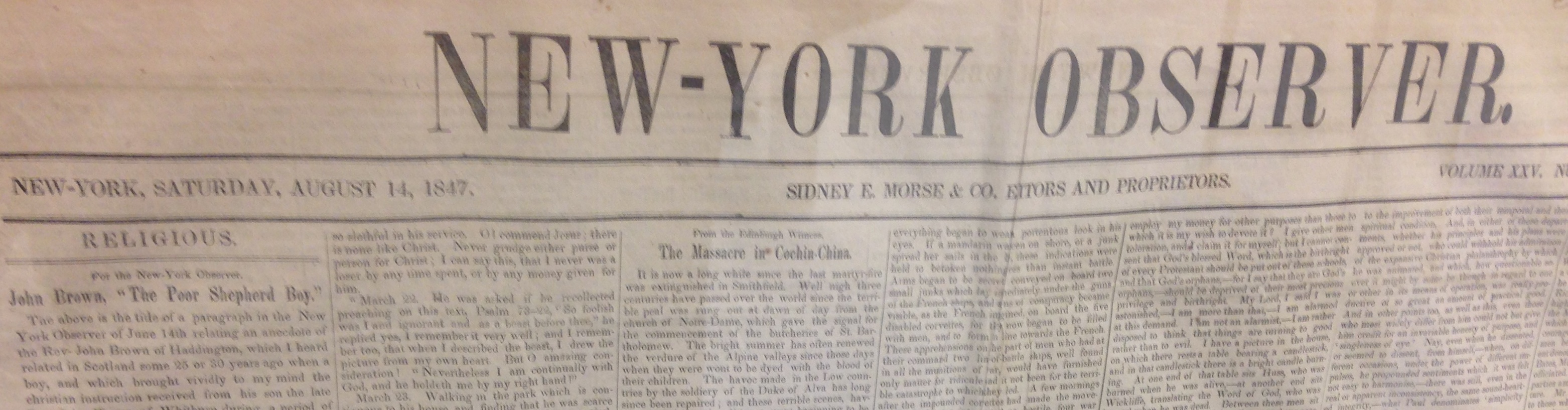 Abraham Lincoln was serving his sole term in Congress back in August 1847. Newspapers, like the New-York Observer were different then. Or were they?