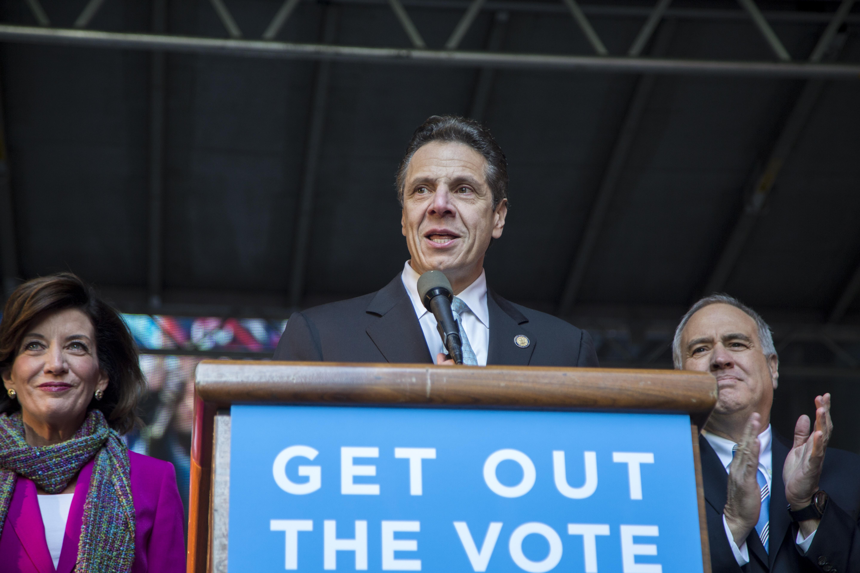 Gov. Andrew Cuomo at a campaign rally. (Photo: Nicholas Perrone/New York Observer)