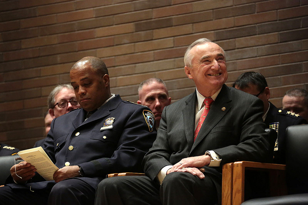 Commissioner Bill Bratton and Chief Philip Banks in February. (Ed Reed/Mayor's Office)
