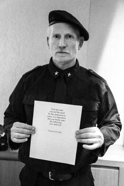 David Colman, in character for his installation ZIP by David Colman. (Photo courtesy Billy Farrell)