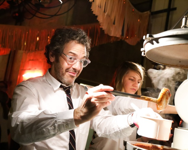 Tom Sachs pouring chili at the 2014 Creative Time Fall Ball