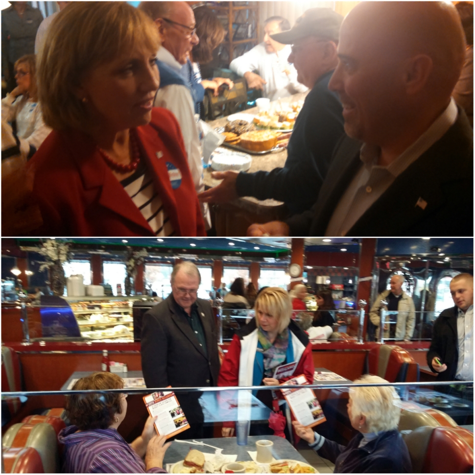 Top: MacArthur and Guadagno talk strategy in Toms River. Bottom: Belgard and former Toms River mayor Paul Brush greet voters at the Crystal Diner.