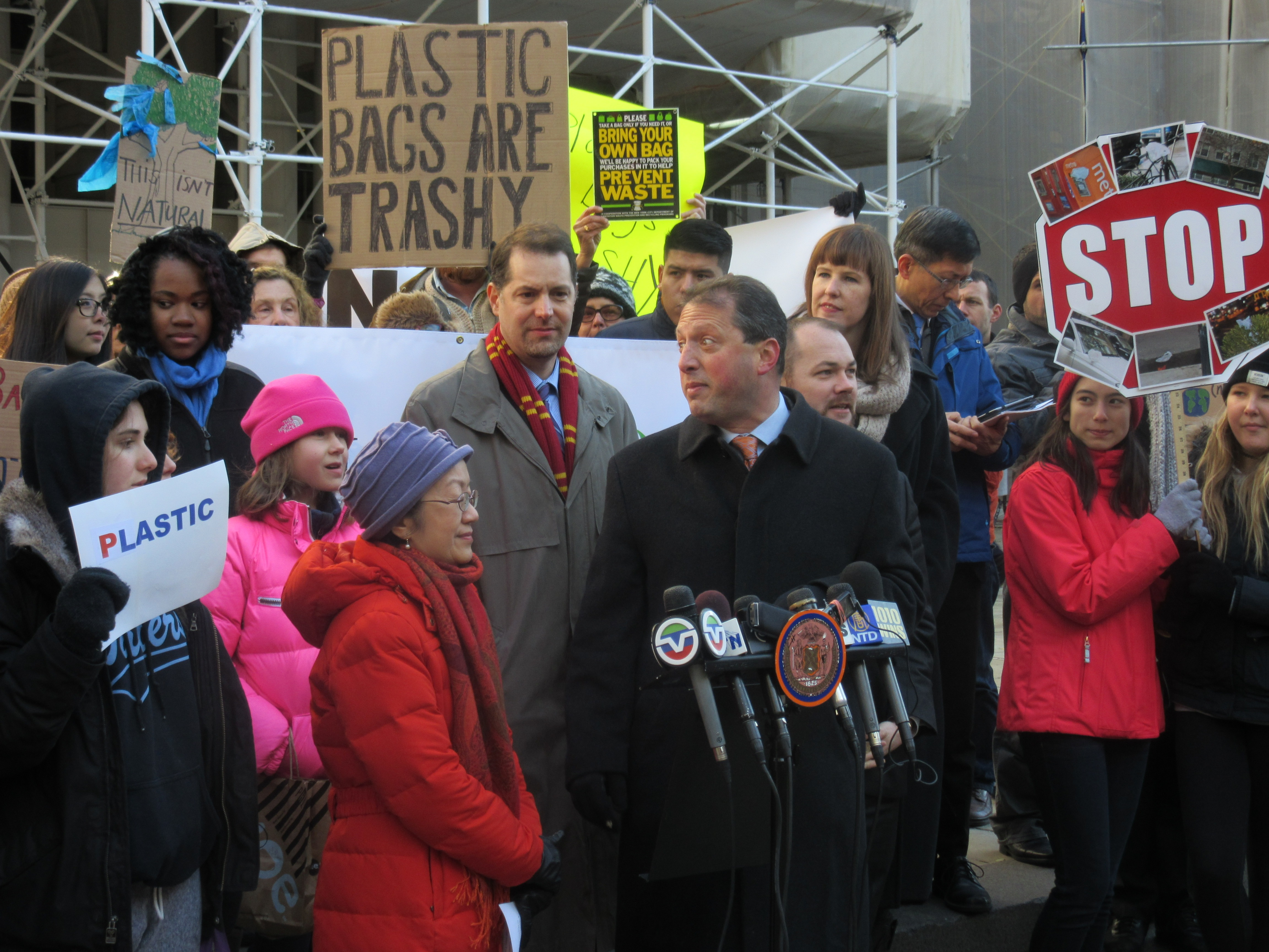 Councilwoman Margaret Chin, left, rallies with Councilman Mark Levine, Councilman Brad Lander, Councilman Corey Johnson and environmental activists (Photo: Will Bredderman).