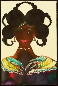 Untitled (Afromuse, 1995-2005, by Chris Ofili. (Courtesy the artist and David Zwirner)