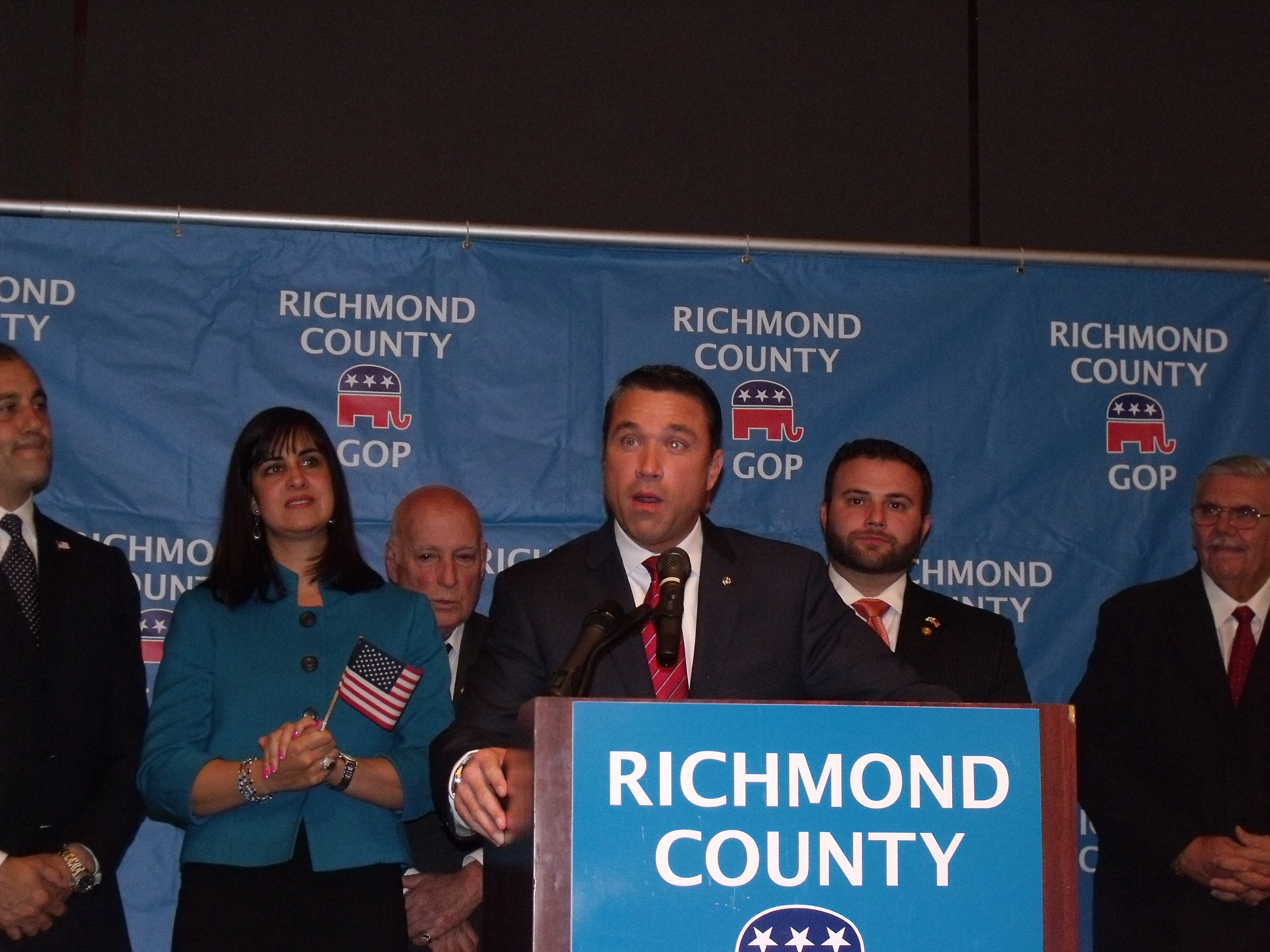 Congressman Michael Grimm declaring victory tonight. (Photo: Jillian Jorgensen)